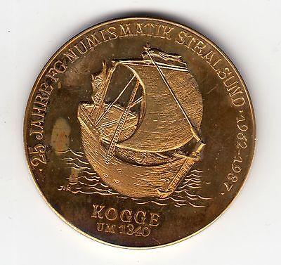 AV-VD Medaille Stralsund Schiffe Kogge um 1340 Gotisches Dielenhaus 14 Jhd. (KT9