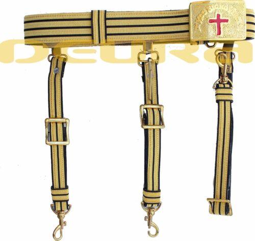 KNIGHTS TEMPLAR GOLDEN & BLACK Sword Belt/Buckle for Sir Knight Waist Size 40