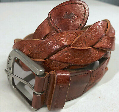 "Brown Leather Braided Abercrombie 1.25"" Belt Size L/XL 39"" Long"