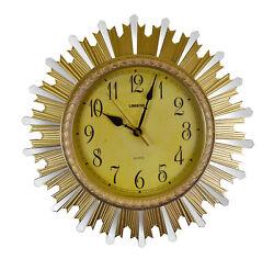 Round Elegant Gold & Mirror Sunburst Wall Clock Luxurious Home Or Office Decor