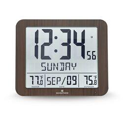 Marathon CL030027-FD-WD Slim Atomic Wall Clock Wood Tone