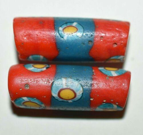 Antique Venetian Red Millefiori Beads Murrine Inserts Aqua Stripes African Trade