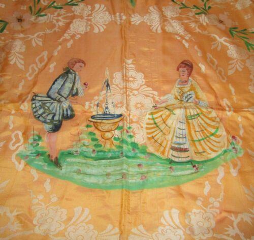 Antique Italian Damask Bedspread Hand Painted S. LEUCIO Fringed Yellow Unused