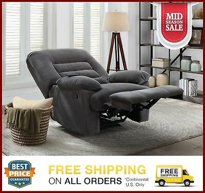 Serta Big Tall Memory Foam Massage Recliner Lounge Sofa Chair Grey Electric Gray