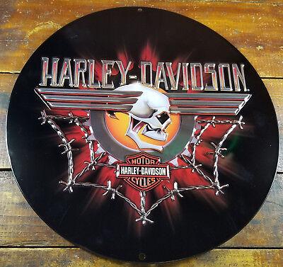 HARLEY DAVIDSON GEARHEAD SKULL BARB WIRE COBWEB HIGHLY EMBOSSED METAL ADV SIGN