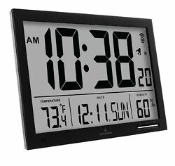 Marathon CL030062BK Slim-Jumbo Atomic Digital Wall Clock Blk