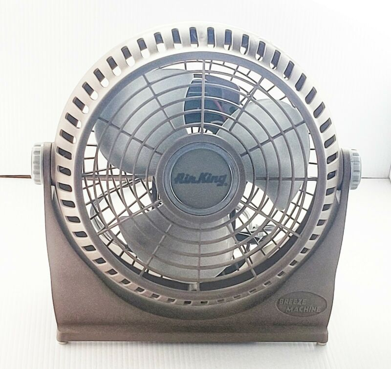Air King Breeze Machine 505 Desk Fan, 10 In Dia Blade, Grounded 2-Speed TESTED