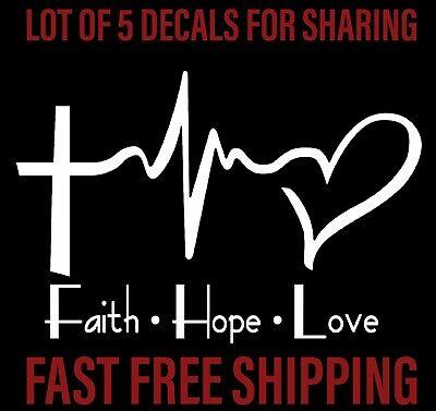 5X (set of 5) FAITH HOPE LOVE Vinyl Decal Sticker Car, Wall Bumper  Heart Cross - Heart Decal Set