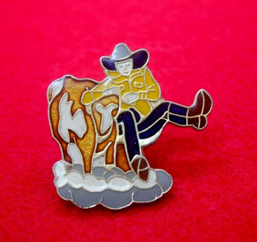 Vintage Glazed Enamel Cowboy in Action Pin Badge