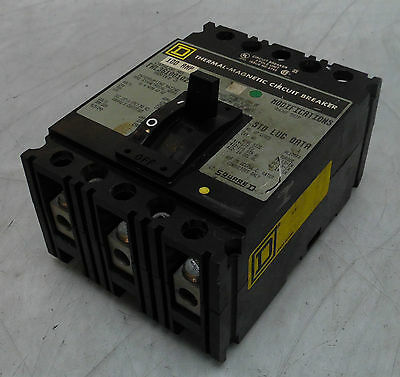 Square D 100A Thermal-Magnetic Circuit Breaker, FHL361001021, 3 Pole, 600V, Used