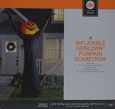 Halloween Gemmy 8 ft Fire and Ice Pumpkin Scarecrow Airblown Inflatable NIB (Halloween Pumpkin Scarecrow)