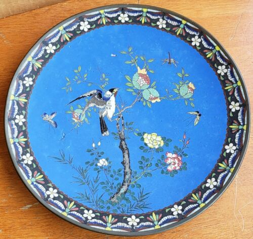 Antique Japanese Cloisonne Platter Charger 12 Inch Birds Butterfly Dragonfly