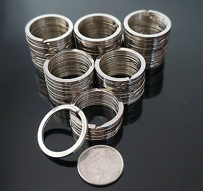 SHANS 100pcs Silver Keyring Metal Key Holder Split Rings  30mm