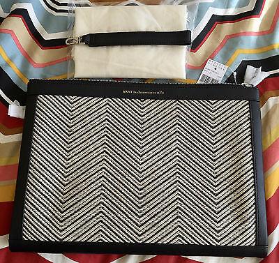 WANT Les Essentiels de la Vie BARAJAS Double Zip A4 Size Folio With Dust Bag