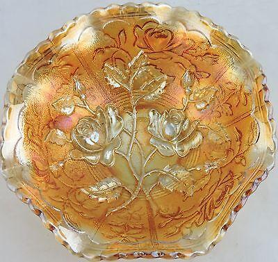 VINTAGE MARIGOLD CARNIVAL GLASS RUFFLED BOWL DISH ROSE FLOWER PATTERN IRIDESCENT