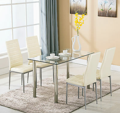 5 Piece Glass Metal Dining Table Set w/4 Chairs Kitchen Room Breakfast Furniture