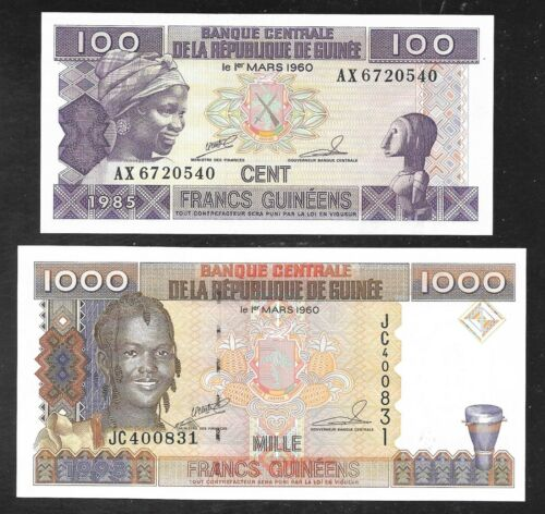 Republic of Guinea - 100 & 1000 Francs Notes - 1985 - P30 & P32 - Both Unc.