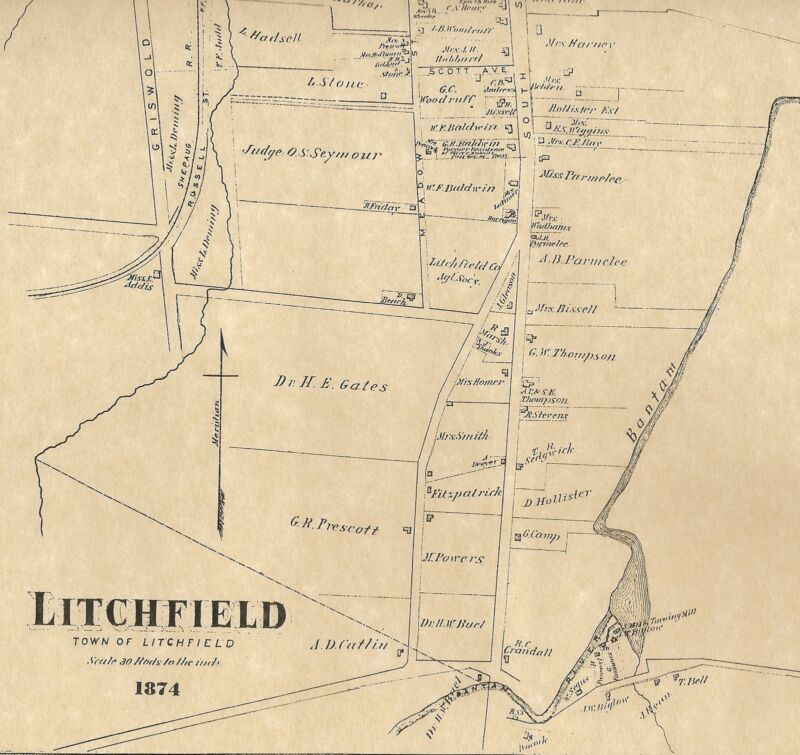 Litchfield Northfield Milton Bantam CT 1874 Maps with Homeowners Names Shown