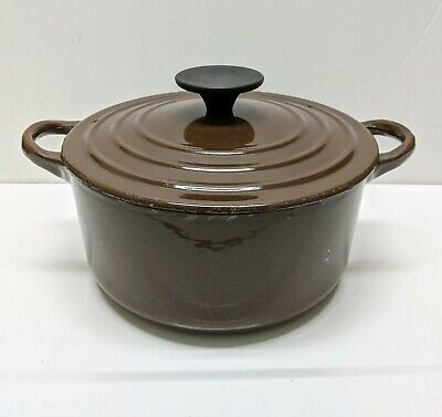 Vintage LE CREUSET France Cast Iron Dutch Oven & Lid Brown White Enamel B 2qt