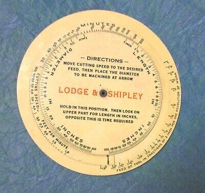 Machinist Lathe Operator Feed And Speed Calculator Lodge And Shipley Lathe 1913