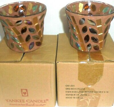 Yankee Candle Set of 2 MOSAIC LEAVES Votive Holders - New in Boxes - FREE SHIP