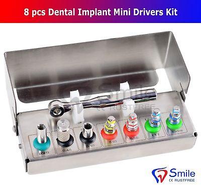 Dental Implant Mini Drivers Kit Universal Ratchet Wrench Hex Screws 8 Pcs Ce Uk