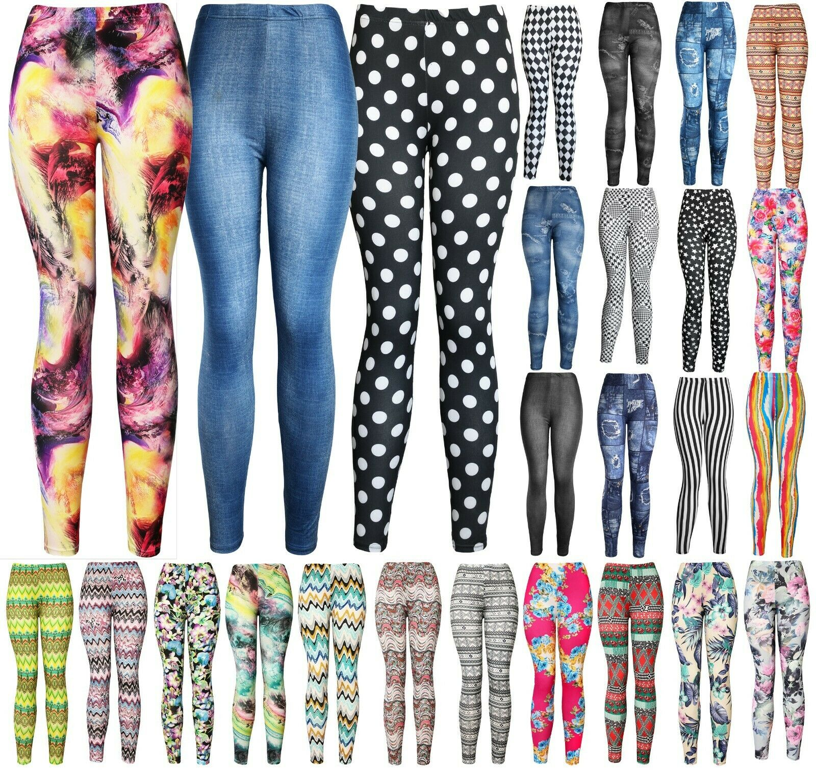 Women's REG/Plus Super Soft Cotton Blend Basic Workout Printed Pattern Leggings Clothing, Shoes & Accessories