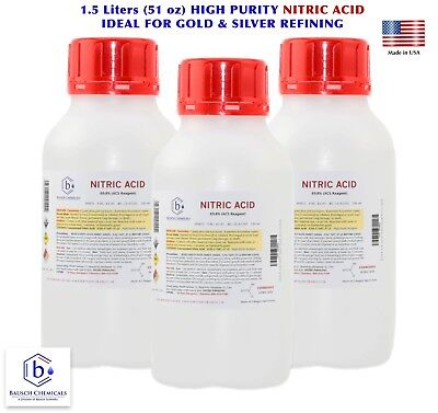 Nitric Acid 70 Hno3 High Purity Acs Lab Grade Gold Silver Refining 1.5 Liters