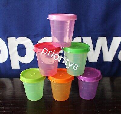 Tupperware Tupper Mini Midgets Container 2oz Set of 6 Rainbow Color New