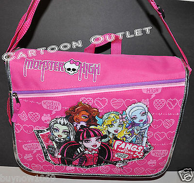 MONSTER HIGH MESSENGER BAG  BACKPACK BOOK BAG tote GHOUL GIRLS  SKULL PINK - Monster High Book Bags