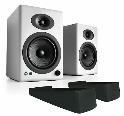 Audioengine A5+ Wireless White Speakers with aptX HD and DS2 Speaker Stands