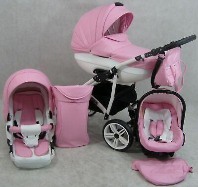 LUXUS Kombi Kinderwagen CLEO Autositz 3 in 1 Komplettset Rosa und weiß (Auto-kindersitz Und Kinderwagen)