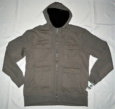 Cargo Fleece Parka (American Rag NEW Gray Mens Size XL Hooded Fashion Fleece Cargo Parka Jacket/Coat)
