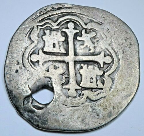 1500s Philip II Mexico Silver 1 Reales Antique Colonial Pirate Treasure Cob Coin