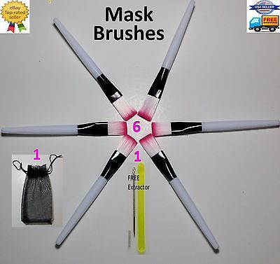 (6 Soft Facial Black mask mud applicator mixing brush beauty makeup tool face Kit)