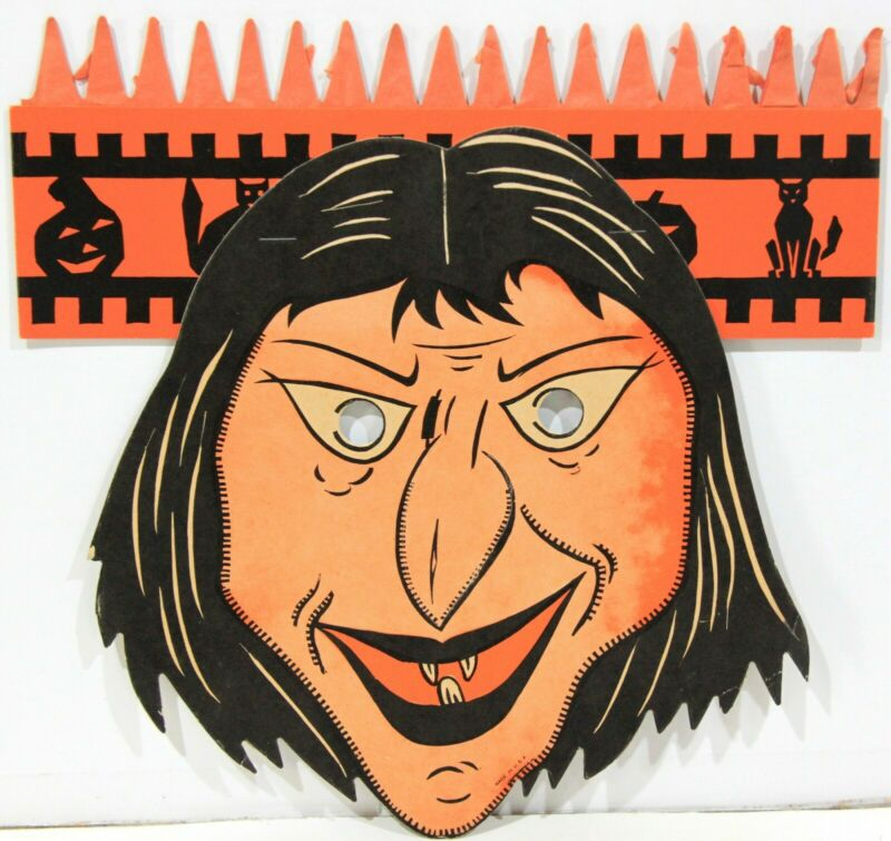 Halloween Beistle Die Cut Cardboard Mask w/ Honeycomb Top ~ Witch 1930-40s