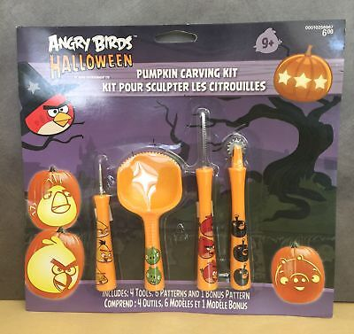 Angry Bird Halloween Pumpkin Carving Kit 1 Set 4 Tools,7 Patterns for Ages 9 &Up - Angry Bird Pumpkin