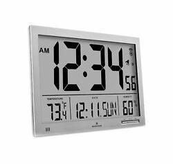 Marathon CL030062GG Slim-Jumbo Atomic Digital Wall Clock Gray