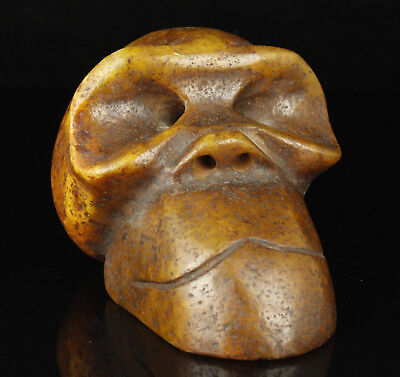 China Collectible Handwork Carving Jade Ape Head  Statue Ornament