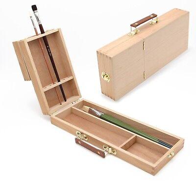 Pinselbox 2 mit Pinselhalter -ständer, Utensilienkoffer für Künstler Malen, Holz