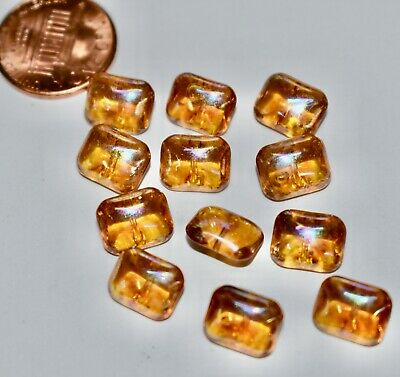 VINTAGE GLASS OCTAGON BUTTON BEAD 8mm x 10mm 12 COUNT TOPAZ AB self shank