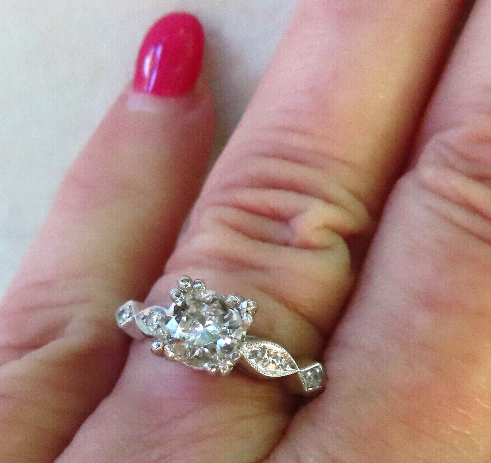 ANTIQUE ART DECO PLATINUM .88 CARAT OLD EUROPEAN CUT DIAMOND ENGAGEMENT RING