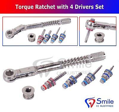 Dental Implant Torque Wrench Ratchet 10-40ncm 4 X Drivers Set New Smile Dental