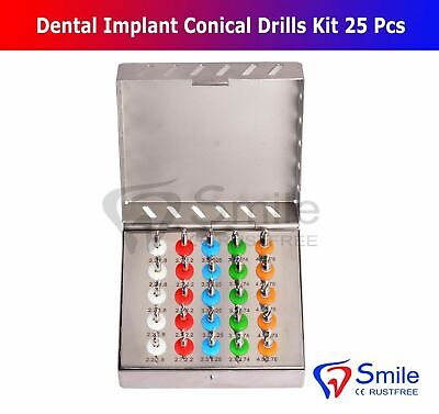 Dental Implant Conical Drills Kit 25 Pcs With Stoppers Surgical Tools Smile Dent