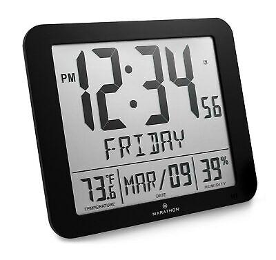 Marathon CL030067BK Slim Atomic Full Calendar Clock with Lar