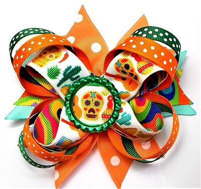 MEXICAN SKULLS CINCO DE MAYO STACKED BOUTIQUE- GIRLS HAIR ACCESSORIES -HANDMADE