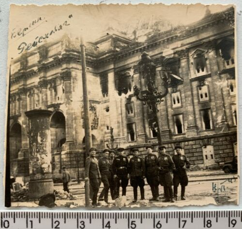 WWII 1945 BERLIN Battle Red Army Officers near Reichstag Ruin Orig Vintage Photo