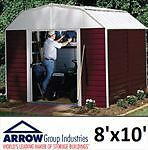 NEW ARROW RED BARN METAL STORAGE SHED 8'x10'