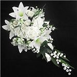 artificial white/ivory lilly/rose  wedding bridal teardrop bouquet