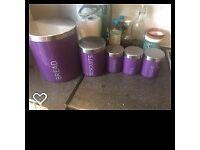 Matching purple Bread Bin, Coffe, Sugar and Tea Jars.